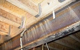 new floor support installed in crawlspace to lift sagging floors, wood rot