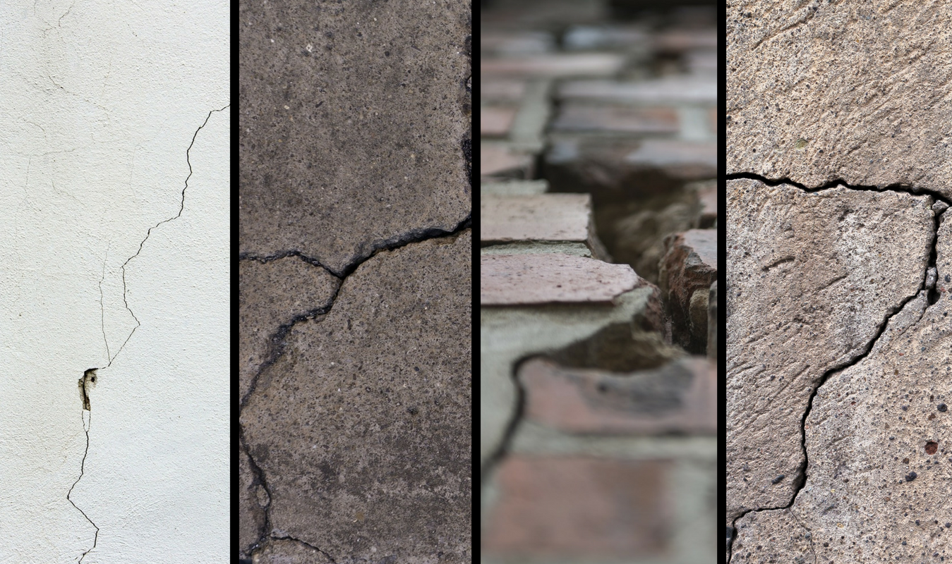 four crack images: diagonal crack in white drywall, multiple cracks in driveway slab, wide crack in brick walkway, multiple cracks in concrete wall