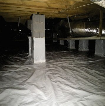 plastic vapor barrier installed in crawlspace to keep out bugs, pests, and water